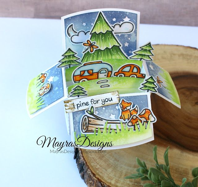 Mayras Designs, Lawn Fawn , Camping Theme, Copics, Lawn Fawn Stamps,