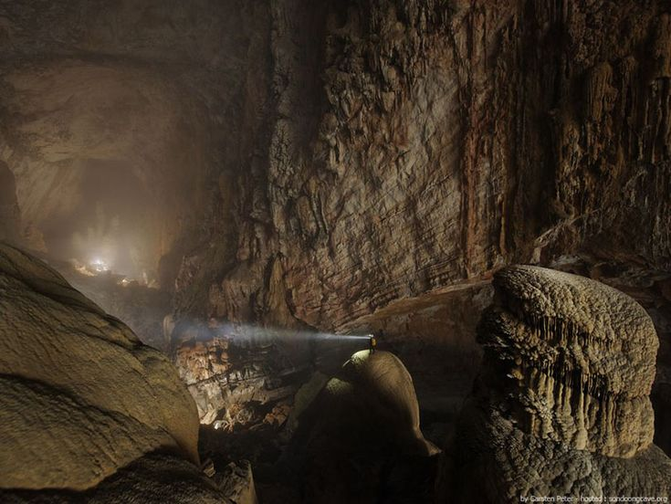 A half-mile block of 40-story buildings could fit inside this lit stretch of Son Doong cave