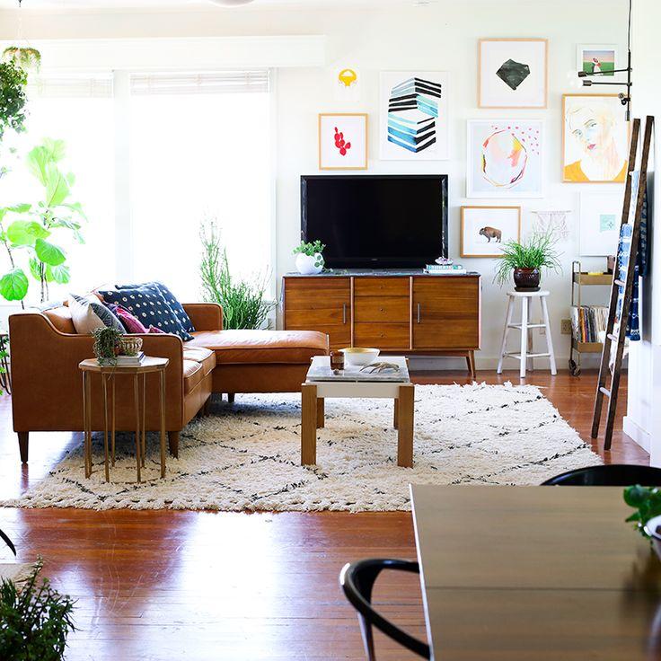 California midcentury modern  bohemian living room