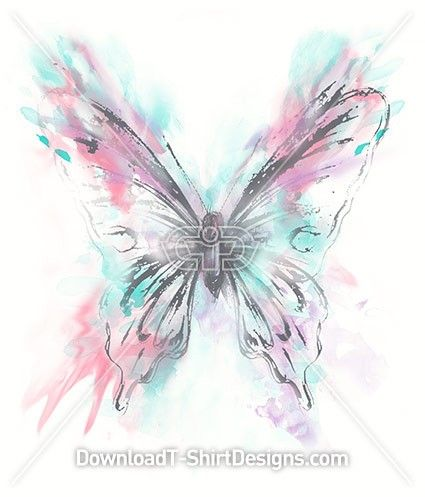 Pastel Watercolor Splash Butterfly. Download this design and print on your T-Shirts or products today at: http://downloadt-shirtdesigns.com/downloadt-shirtdesigns-com-2122871.html