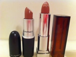 MAC lipstick dupe for  Hug Me=  a nude lipstick with more brown than pink to it.  I came across a dupe for it, Maybelline's Color Sensational Lipstick in Totally Toffee.