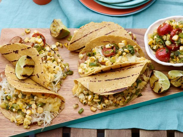 Grilled Breakfast Tacos made with soft scrambled eggs, spicy chorizo and fresh corn.: Food Network, Recipes Food Drinks, Grilled Breakfast Tacos, Breakfast Brunch Recipes, Food Breakfast Cereals, Yummy, Breakfast Tacosgrill, Grilled Breakfasts, Tacos Recipe