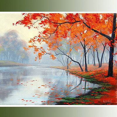 MISTY AUTUMN PAINTING lake impressionist by GerckenGallery, $158.00