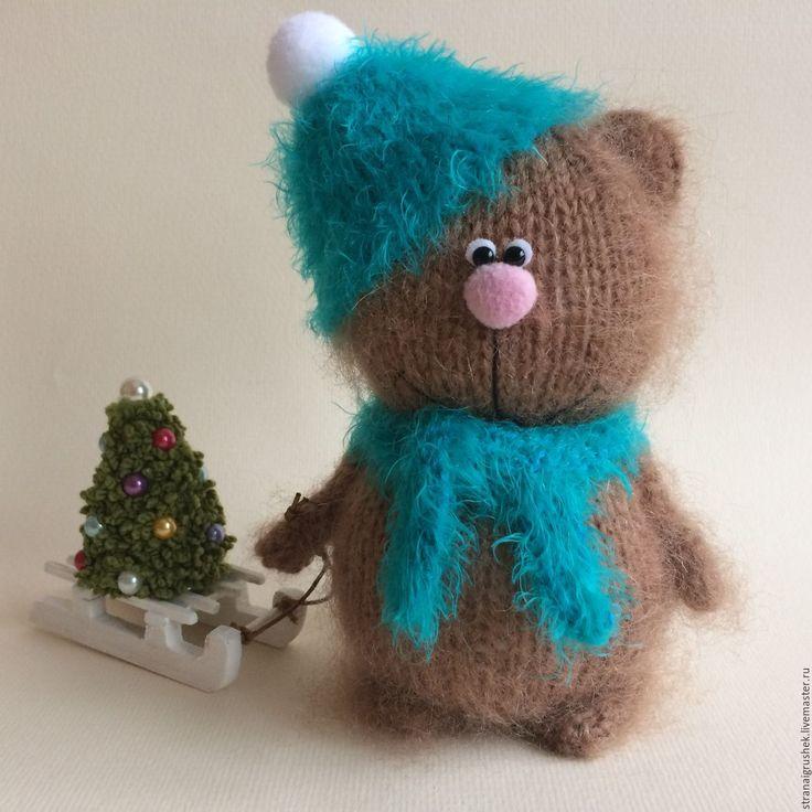Купить Мишутка Пушок. - коричневый, мишка, вязаная игрушка, вязаный мишка, авторская игрушка