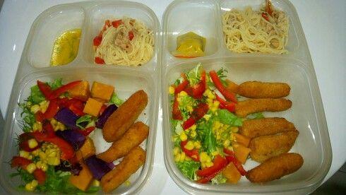 Rainbow salad with orange dressing, fried gindara, spaghetti tuna aglio olio