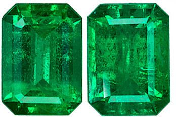 Rich Pair of Green Emerald Loose Gemstones, Emerald Cut, 7 x 5 mm, 1.69 Carats at BitCoin Gems