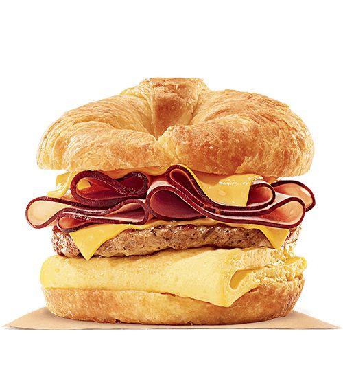 Ham Sausage Egg & Cheese Double Croissan'wich Breakfast Sandwich - Burger King