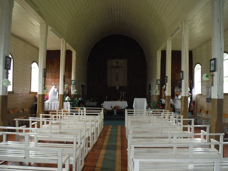 Inside the wooden church