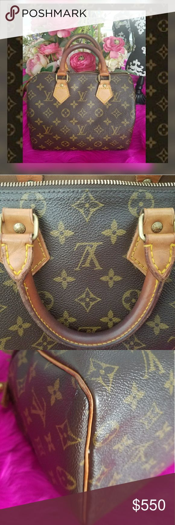 Authentic LOUIS VUITTON Speedy 25 Bag Authentic LV plus in great preloved condition with minor flaws    The color is beautiful and in great condition.   I have another LV in my closet   ❌ Handles have normal wear with a beautiful darkening tone  ❌ Interior, underneath zipper area where zipper closes has a very small material rip. It's very hard to see and doesn't appear to be affect the threading.   Date code; was made in 1988 of the 4th month in USA   NO LOW BALL OFFERS. Louis Vuitton Bags…