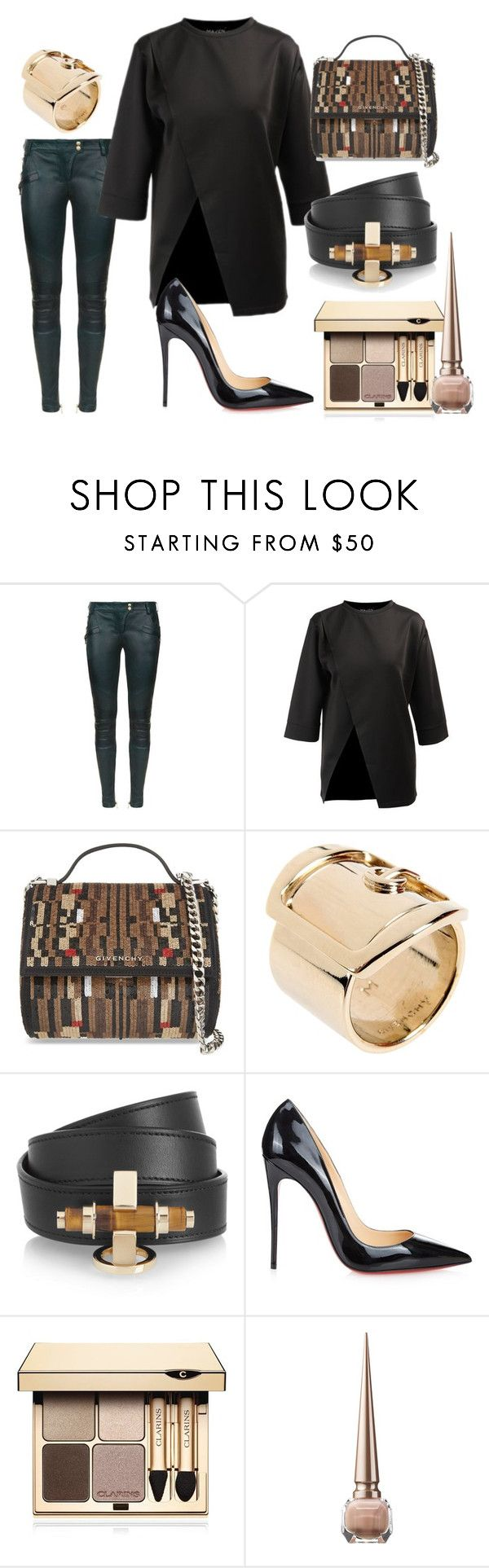 A NIGHT ON THE TOWN by iamamaven on Polyvore featuring Balmain, Christian Louboutin, Givenchy and Clarins
