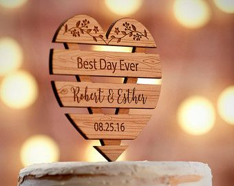 :::View our Entire Collection::: https://www.etsy.com/shop/WeddingTreeGuestbook?ref=hdr_shop_menu§ion_id=19493980  ♥ Product Specifications ♥ ------------------------------------- - Premium Alder Wood - Product Dimension: W4.6 x H6.33 - Fits any standard 6 Base Cake - Made in the USA - Over 40 Fonts to choose from - Processing Time: 1-2 Business Day *Guaranteed ON-TIME Delivery or your money BACK   ♥♥♥ H O W - T O - O R D E R ♥♥♥  STEP 1: Add to Cart…