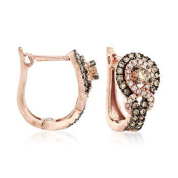 Ross-Simons - .90 ct. t.w. Brown and White Diamond Huggie Hoop Infinity Earrings in 14kt Rose Gold - #885184