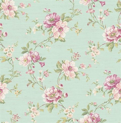 Rv21309 Posey Trail Floral Wallpaper Summer Park
