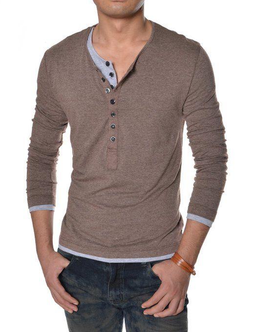 Mens Long Sleeve Layered T Shirt