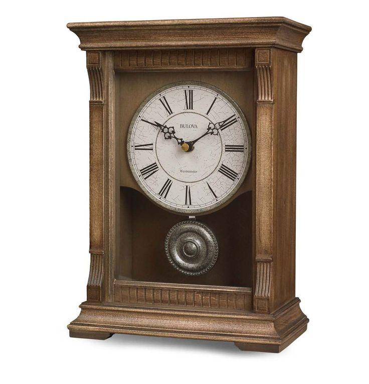 BULOVA Warrick III Natural Oak Finish Antique Pewter Chime Desk CLOCK B7663