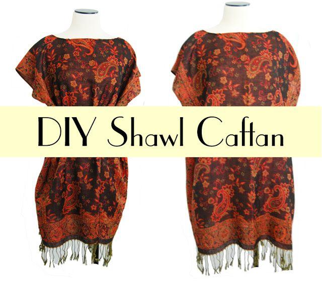 DIY Shawl Caftan by www.jessamity.blogspot.com. Gotta go to the Thrift Store!