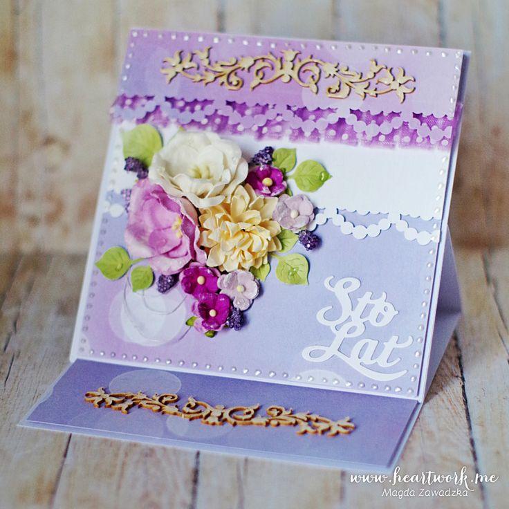 Ręcznie robione kartki urodzinowe. Warstwowa kartka sztalugowa na urodziny. Oryginalny pomysł na prezent dla kobiety