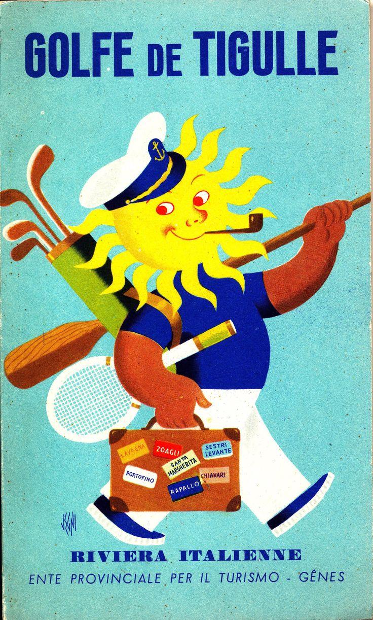 Copertina della guida turistica in lingua francese sul Golfo del Tigullio, prodotta dall'Ente Provinciale per il Turismo di Genova (anni '50)