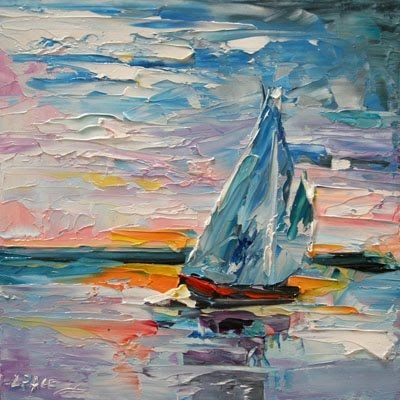 'Late Sunset' Sail Boat Sunset Landscape Oil Painting Lake Ocean Scene by Texas Artist Laurie Pace, painting by artist Laurie Justus Pace