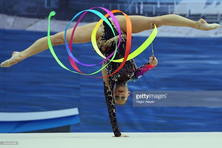Belarusian rhythmic gymnast Katsiaryna Halkina performs her ribbon routine during the Individual All-Around event at the 2016 FIG Rhythmic Gymnastics World Cup, at the Gymnastics Center in Kazan. Yegor Aleyev/TASS