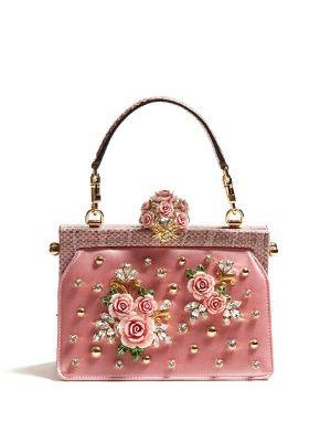 8778d63f8569 Vanda rose-embellished satin and snakeskin bag by Dolce   Gabbana ...