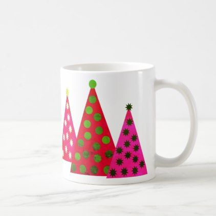 #Midcentury Modern Christmas Pink Green Polka Dots Coffee Mug - #drinkware #cool #special