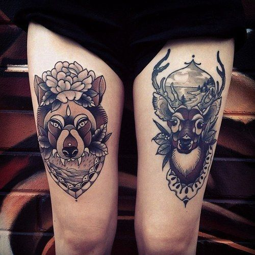 Old school portraits of deer and wolf tattoo on hip - Tattooimages.biz
