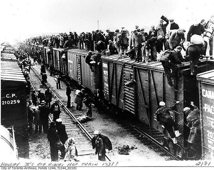 Unemployed men hop train, Canada, c.1933