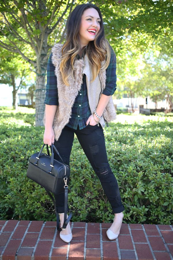 Faux Fur Plaid Shirt