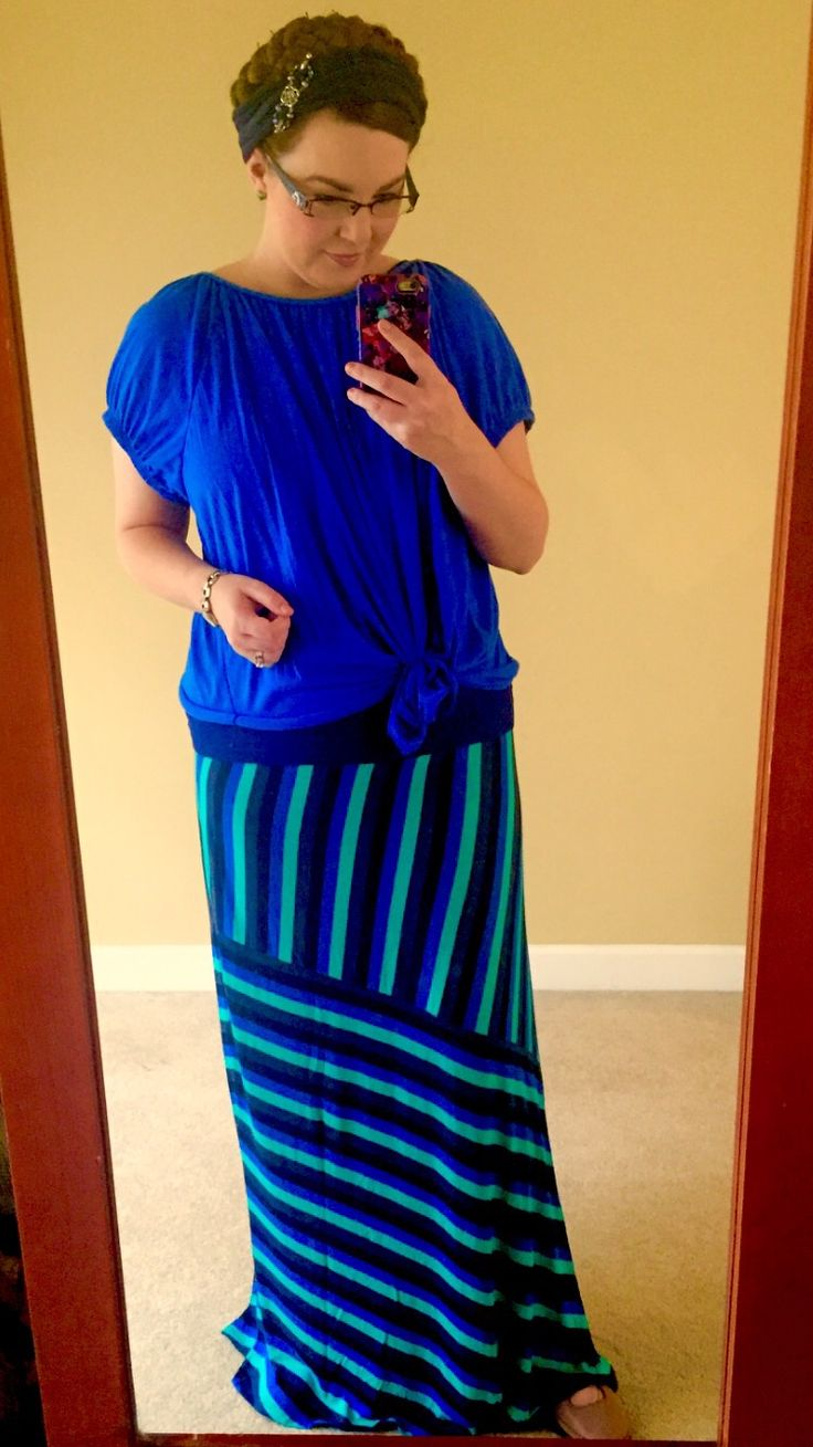 Blue Striped Maxi Outfit