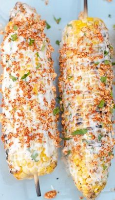 Mexican style corn on the cob 5 ears fresh corn, husked Spread: 1/4 cup mayonnaise 2 Tablespoons sour cream 1/4 teaspoon garlic salt Juice from one lime For the Topping: 1/4 cup grated Cotija cheese 1 teaspoon smoked paprika or chili powder Grill for 10 to 15 minutes, turning often. Meanwhile, combine the spread ingredients. Carefully remove the corn cob from the grill. Smear the spread all over each corn cob, then sprinkle evenly with the topping.