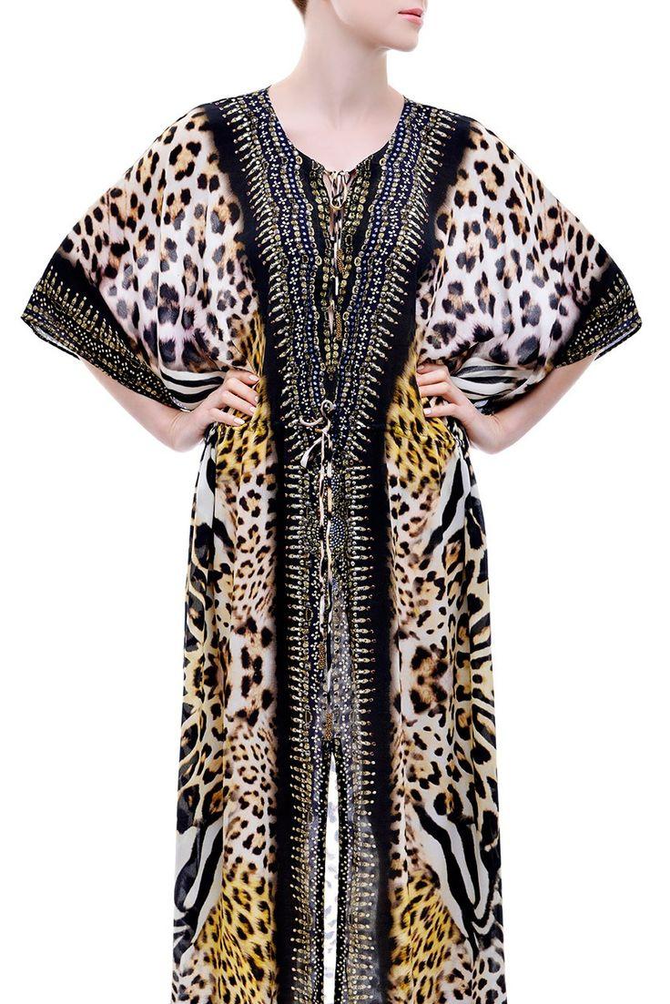 Leopard Lace-up Kaftan - Kaftans Dresses - Shop Style