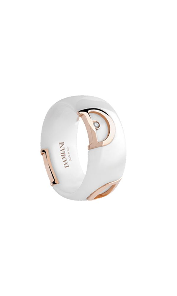 D.Icon white ceramic and pink gold ring with diamond