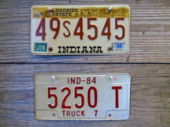 Hoosier State License Plates 2 Vintage Indiana Vehicle