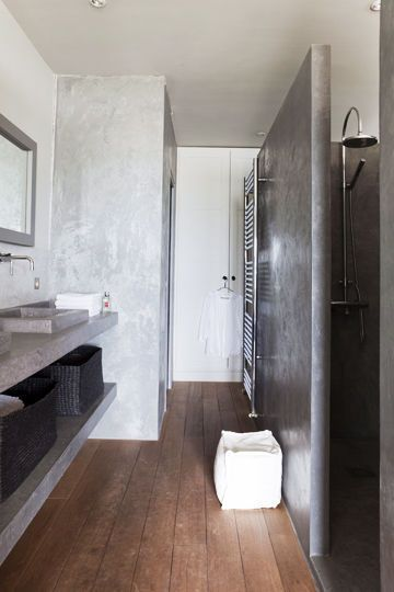 Wood, gray and white bathroom