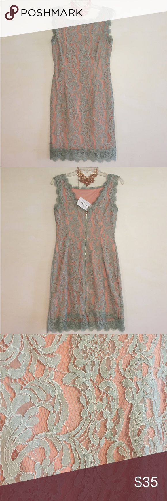 Filly Flair Teal & Salmon Lace Dress, M This charming Filly Flair Teal & Salmon Lace Dress, M is great for wedding season! Brand new, no defects and comes from a smoke/pet free home. Filly Flair Dresses Midi