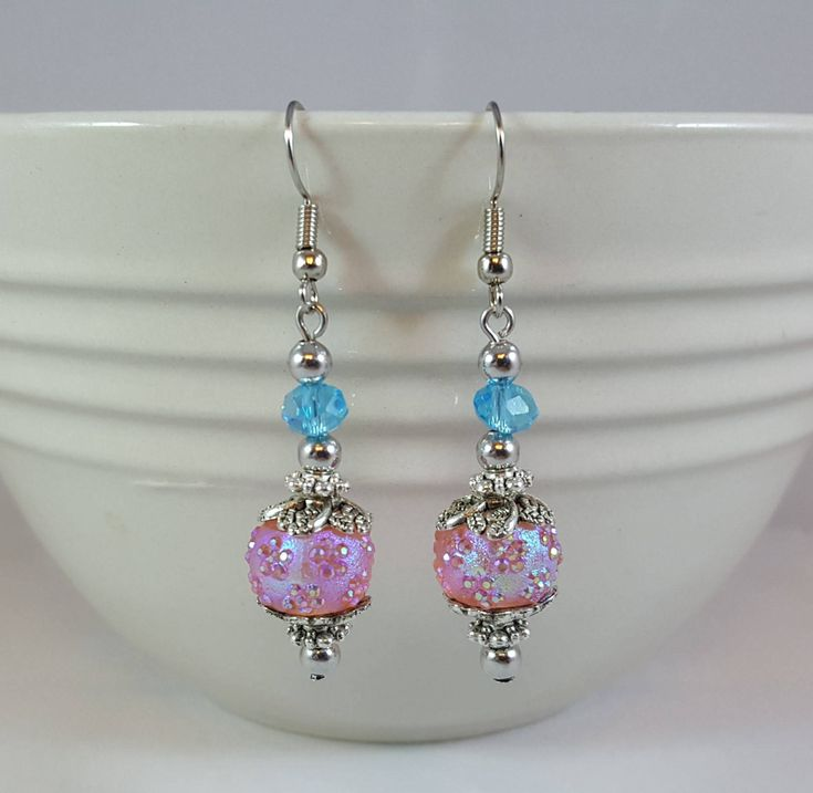 Here's the latest addition to my #etsy shop: Iridescent Pink and Blue Dangle Earrings, Antiqued Pewter Metal Components http://etsy.me/2B1ro8h #jewelry #earrings #pink #earwire #pewter #women #blue #sphereball