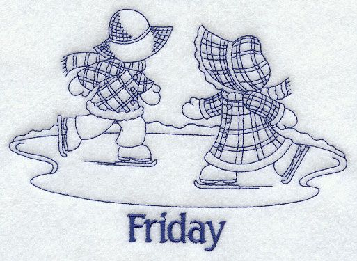 Sunbonnet Sue and Fishermen Fred on Friday (Bluework)