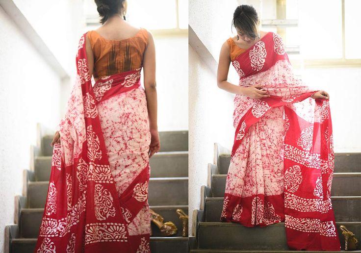 Batik Sarees - Pink Crack Batik By Suta - Pc - 16157 - 2