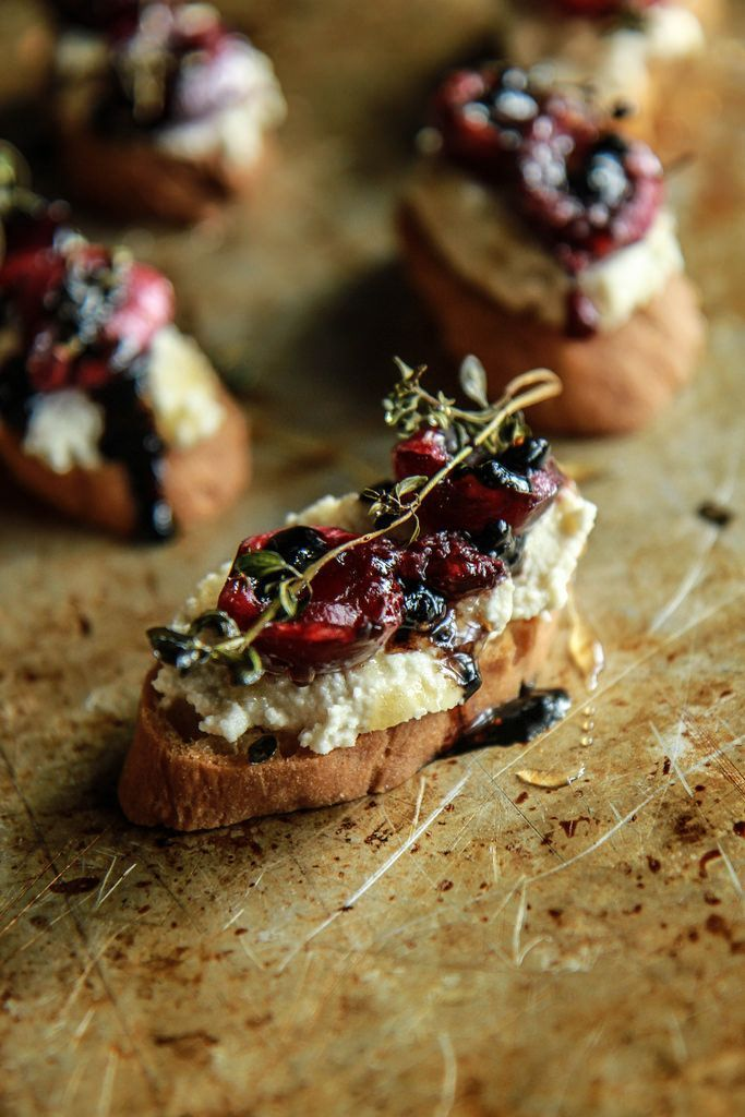 Crostini with Almond Ricotta, Roasted Cherries and Thyme with Balsamic and Honey- Vegan and GF form http://HeatherChristo.com