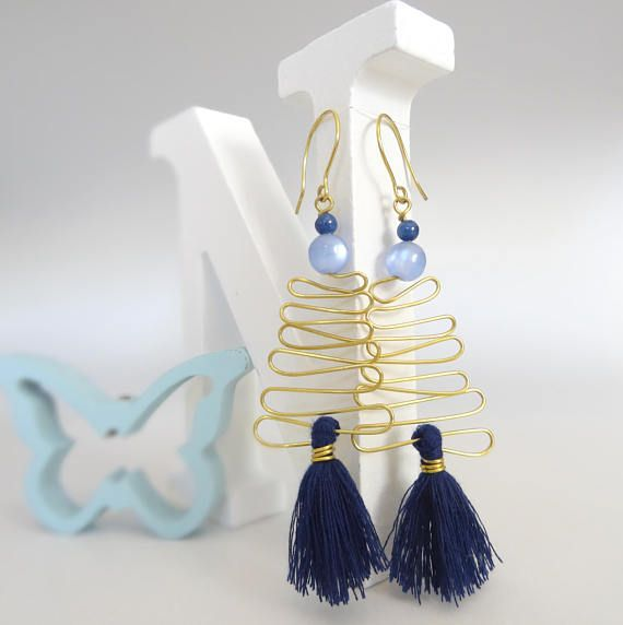 Tassel Earrings, Brass Wire Earrings Blue Earrings, Wire Earrings, Handmade Jewelry, Statement Earrings