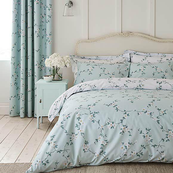 Edith Duck Egg Floral Reversible Duvet Cover And Pillowcase Set Reversible Duvet Covers Duvet Covers Duvet Sets