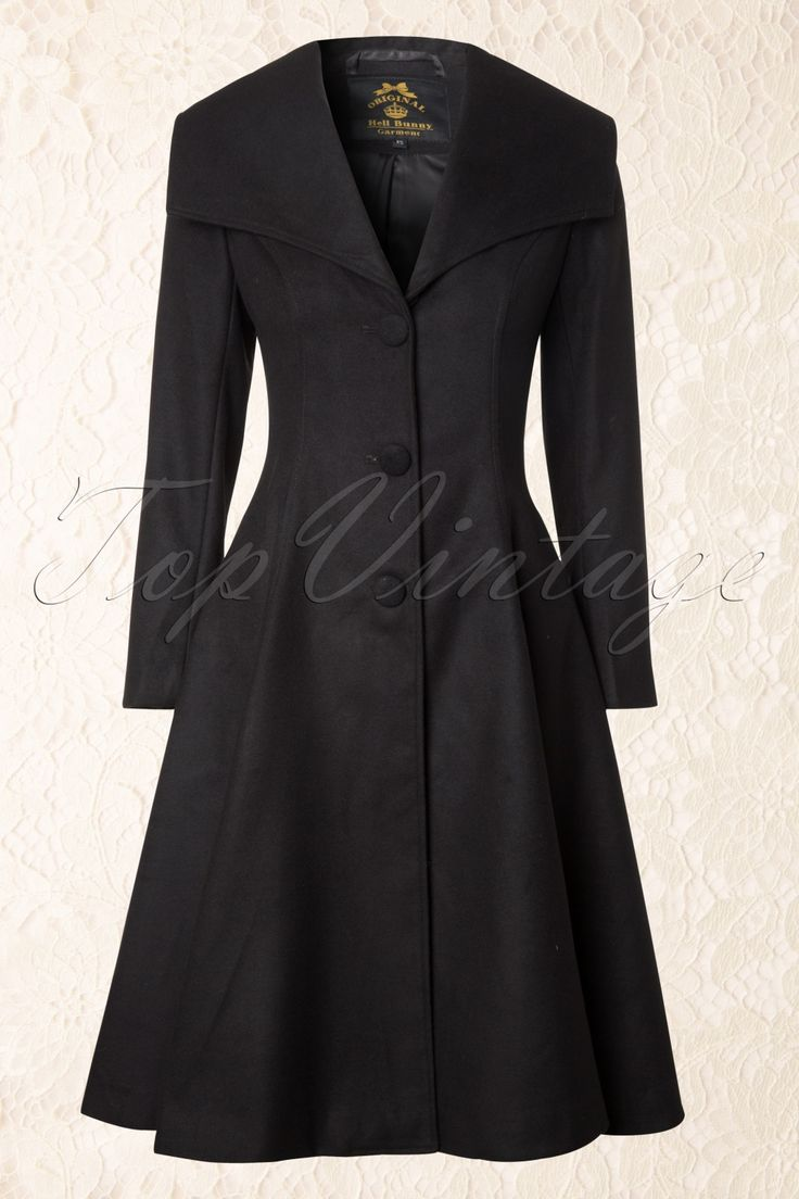 Bunny - 50s Coleen Swing Coat in Black