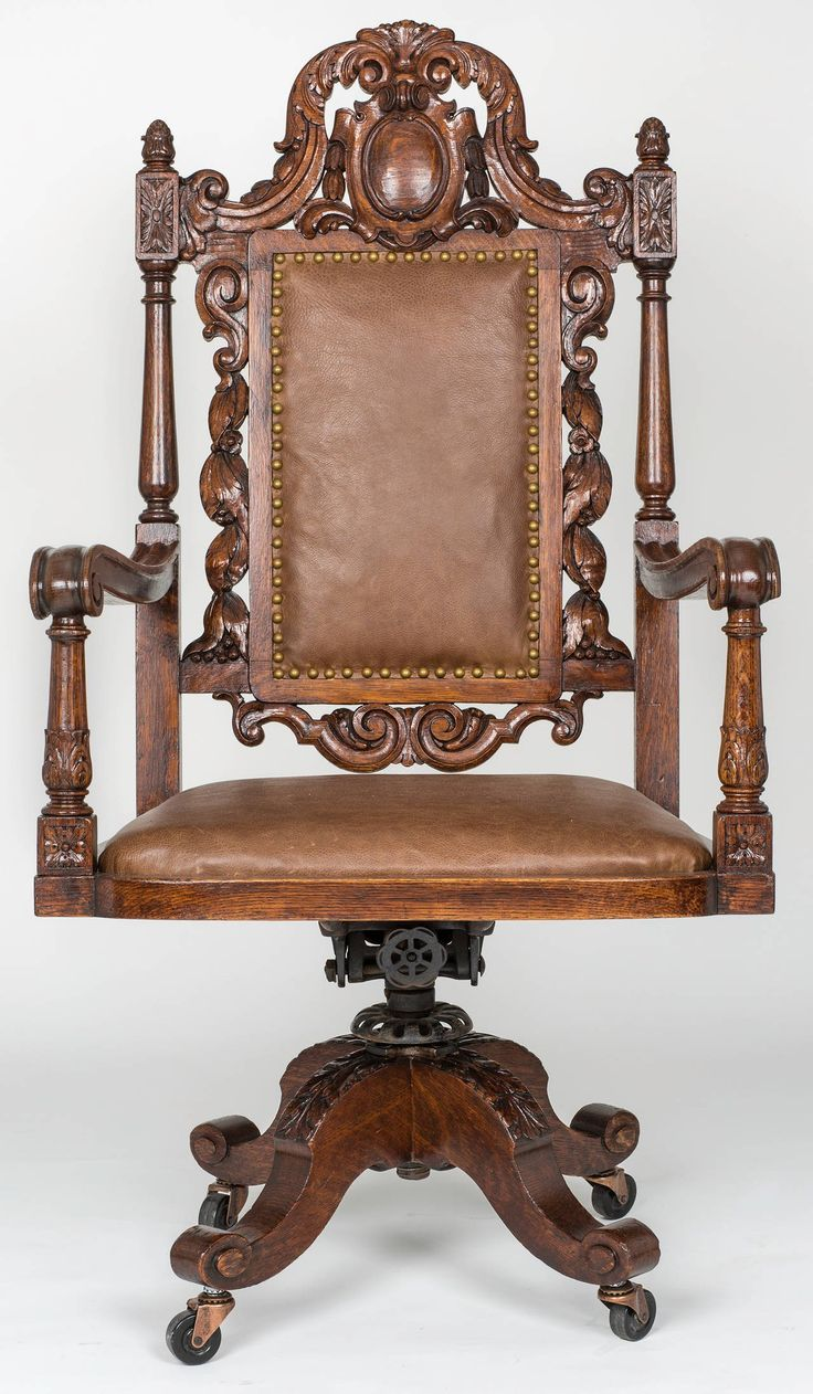 Rare set of twelve victorian solid oak leather antique chairs empire - Large Executive Leather Swivel Desk Chair