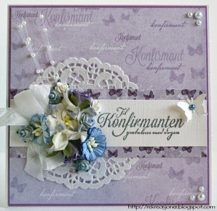 {Re}kreasjoner: Konfirmasjonskort // Purple and blue confirmation card. Papirdesign products