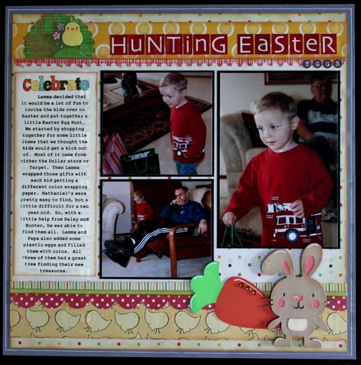 Hunting Easter Eggs - Scrapbook.com  create a critter bunny: Scrapbook Layouts, Easter Layouts, Cricut Layouts, Scrapbooking Ideas, Easter Eggs, Scrapbook Com Create, Scrapbook Cricut