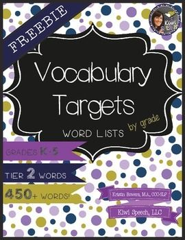 Free Tier 2 Vocab Word Lists by grade