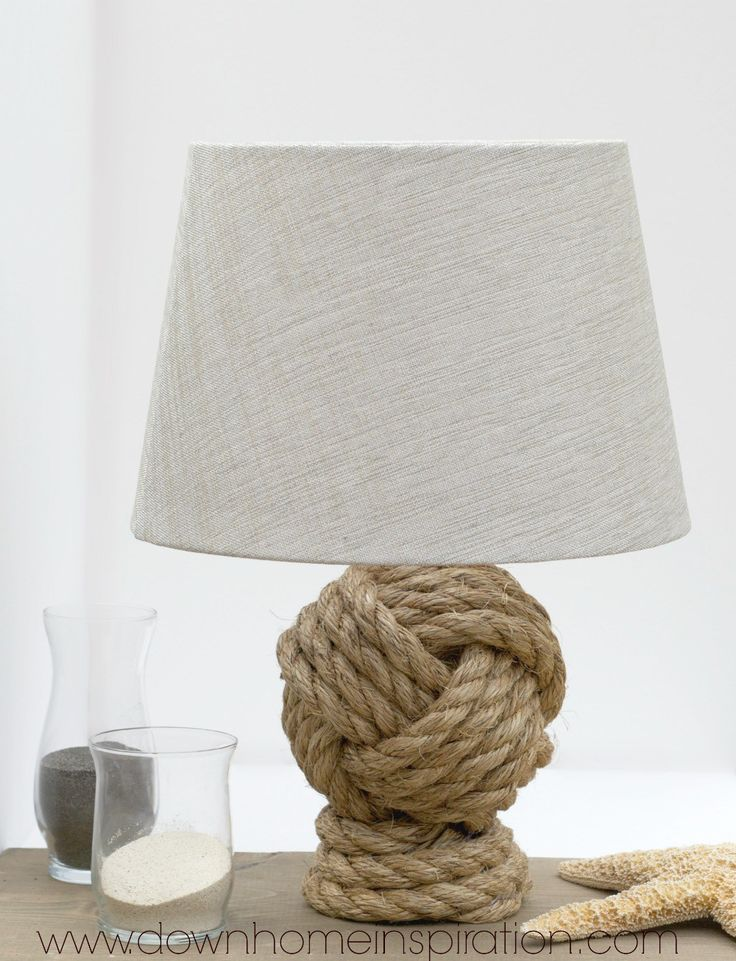 Make your own Pottery Barn Knockoff Rope Knot Lamp that is a dead ringer for the original with a savings of $220!