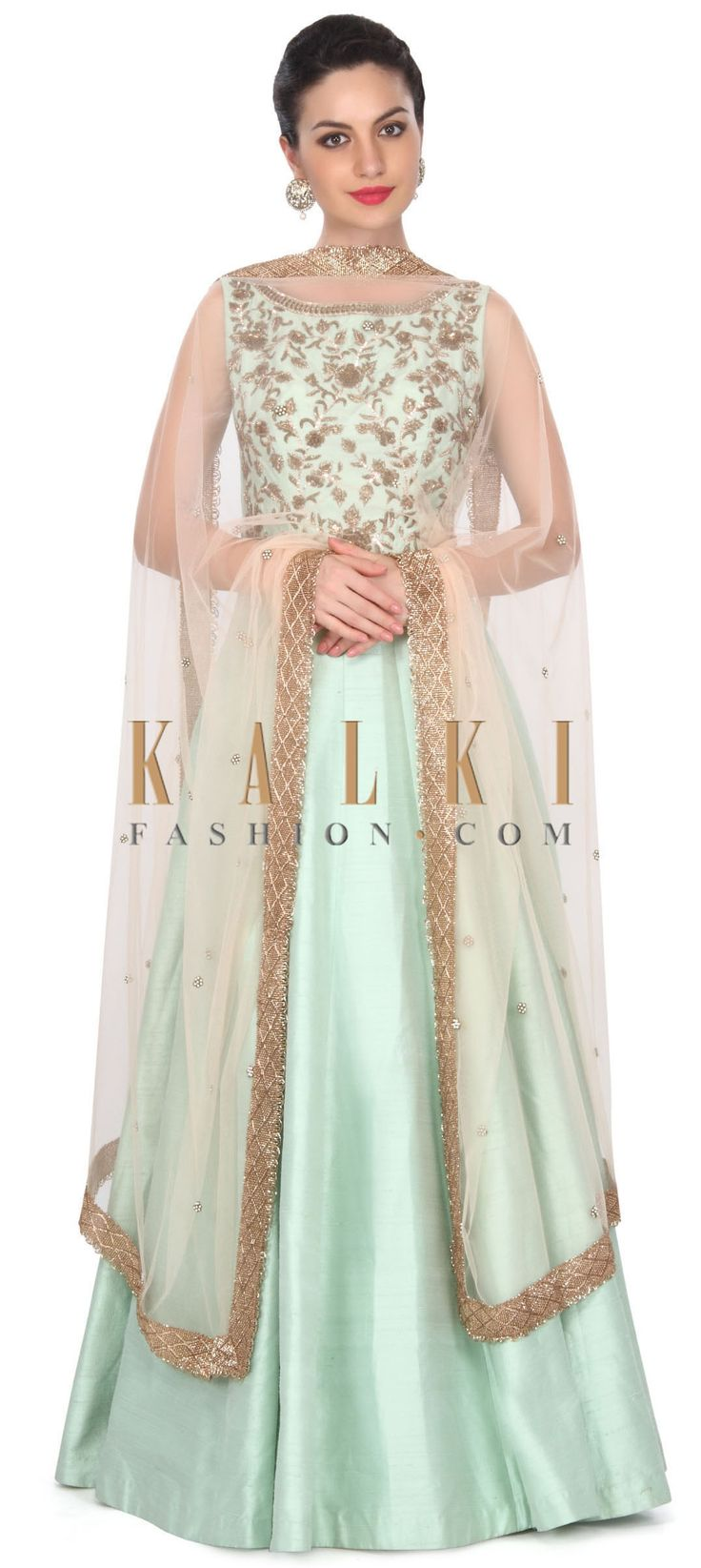 Buy this Pista green anarkali suit adorn in zardosi embroidery only on Kalki