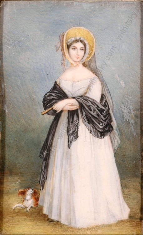 Portrait miniature of the young Queen Victoria, painted by an English artist in the mid 19th century. An inscription on a paper laid verso says: Her Majesty in the Walking Costume of 1846.: